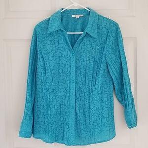 JM Collection Shirt - Blue Floral w/Sequins sz 14
